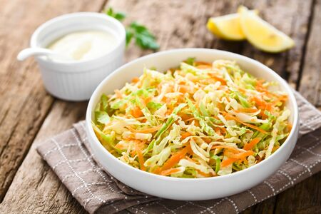 Coleslaw Made Of Freshly Shredded White Cabbage And Grated Carrot