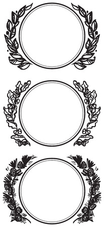 Garland decorations with branches of laurel, pine, and holly. Vector illustration. Vector