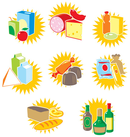 Set of icons with food and drinks. Vector illustration. Vector