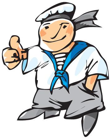 kifejező: Cheerful seaman with expressive gesture. Vector illustration.