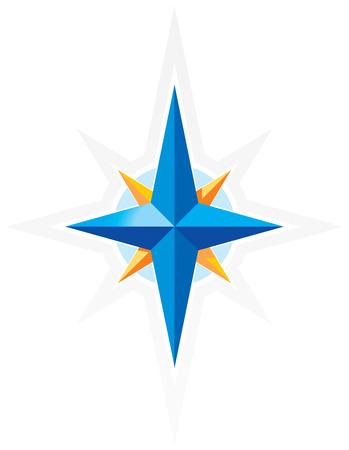 norte: El viento levanta la brújula. Estrella azul y naranja sobre fondo blanco. Ilustración vectorial. Vectores