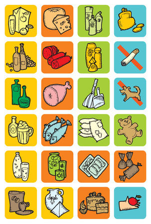 toy sack: Set of icons with food and drinks. Vector illustration.