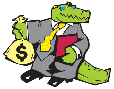 comix: Crocodile in grey suit with sun-glasses and sack of money. Vector illustration.