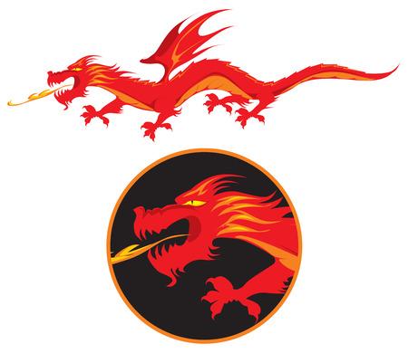 Rojo de alas de dragón escupe-fuego. Ilustración vectorial.