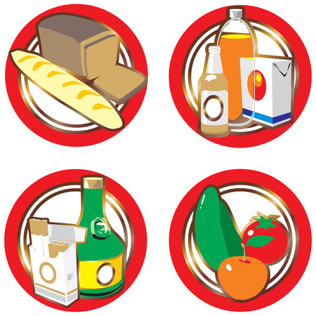 Icons with foods and drinks. Vector illustration.  Vector