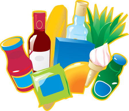 Foods and drinks. Vector illustration.