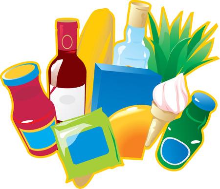Lebensmittel und Getränke. Vector illustration.