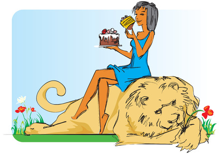 comix: Girl sitting on lion with cake in her hand. Vector illustration.
