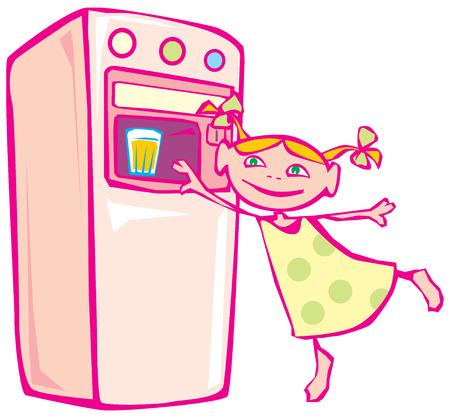distribution automatique: Petite fille et la machine distributrice. Vector illustration.