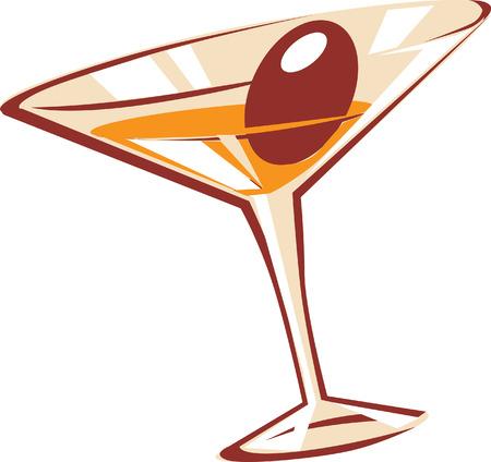copa de martini: C�ctel de cristal. Ilustraci�n vectorial.