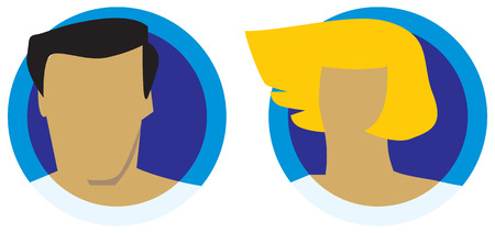 gents: Male and female heads icons. Vector illustration.