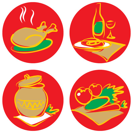 dieting: Icons with foods and drinks. Vector illustration.