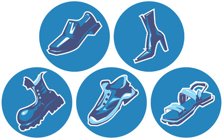 Icon set of shoes. Vector illustration.  Vector