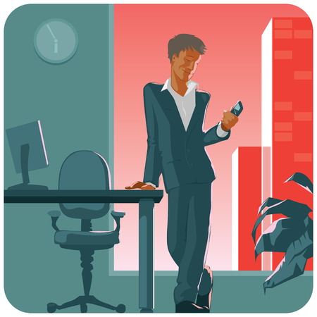 Man in suit with phone in his hand. Staying in office by evening. Vector illustration.  Vector
