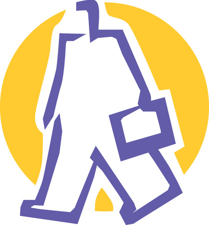 Man with bag icon. Vector illustration.  Vector