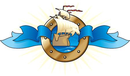 warship: Sailing vessel. Ready-to-use logotype. Vector illustration.
