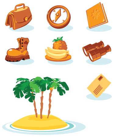 ananas: Travel icons. Vector illustration.