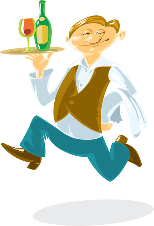 Waiter, running with wine on tray in his hand. Fun cartoon style. Vector illustration. Vector