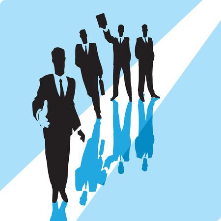 Businessman giving hand with group of businessmen in background. Vector illustration. Vector