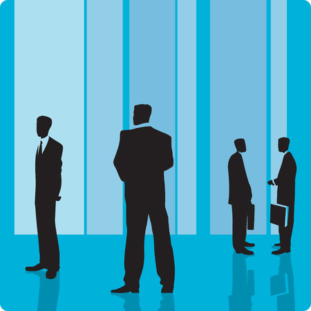 Businessmen in large hall. Vector illustration. Vector