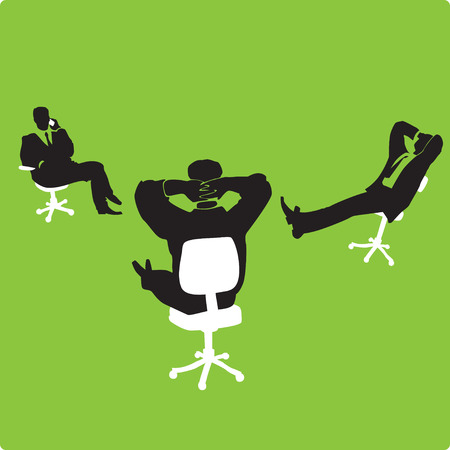 Three businessmen in chairs on green background. Vector illustration. Vector