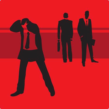 empresario triste: Triste hombre de negocios en problemas. Ilustraci�n vectorial.