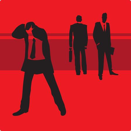 Triste hombre de negocios en problemas. Ilustraci�n vectorial. Foto de archivo - 4149832