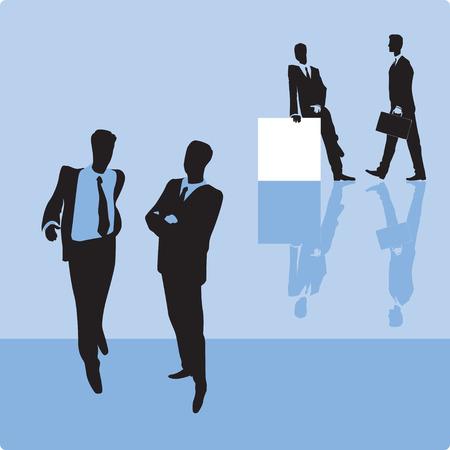 Businessmen on blue background. Vector illustration. Vector