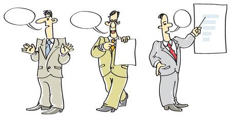 Three speaking men in suits. Vector illustration. Vector