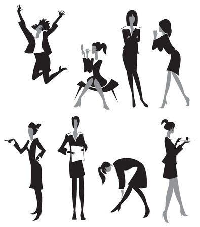 Women in office. Black and white silhouettes. Vector illustration. Vector