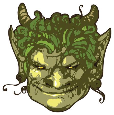Head of smiling satyr. Vector illustration. Stock Vector - 4174381