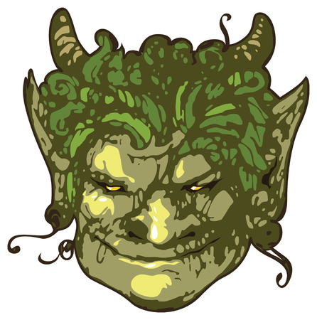 classical mythology character: Head of smiling satyr. Vector illustration.