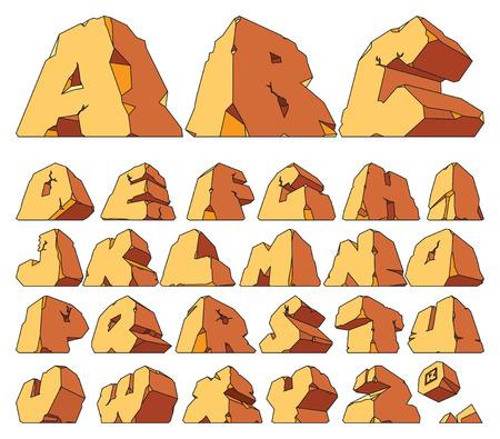 alfabético: Alphabet made of stone: letters. Vector illustration. Ilustra��o