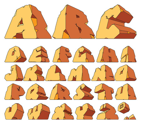 Alphabet made of stone: letters. Vector illustration. Stock Illustratie