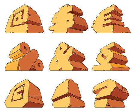question mark: Alphabet aus Stein: Symbole @, $, Euro,%, &, Absatz-, Urheber-,!,?. Vector illustration.