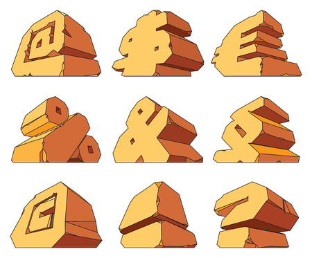 paragraph: Alphabet made of stone: symbols @, $, Euro, %, &, Paragraph, Copyright, !, ?. Vector illustration. Illustration