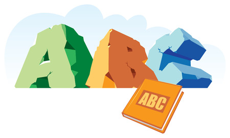 cleft: Alphabet made of stone, single word ABC and book. Vector illustration. Illustration