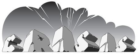 single word: Alphabet made of stone, single word Crisis. Vector illustration.