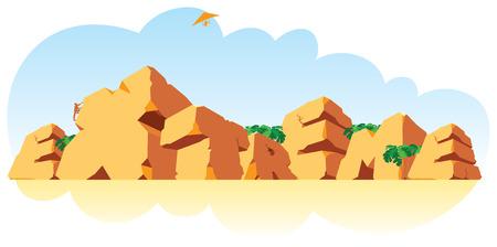 crack climbing: Alphabet made of stone, single word Extreme. Vector illustration.