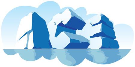 Alphabet made of stone, single word Ice. Vector illustration.