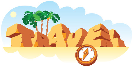 single word: Alphabet made of stone, single word Travel. Vector illustration.