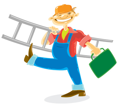 labourer: Worker in helmet with tools and ladder. Vector illustration.