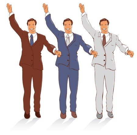 office party: Chico con suerte sonrisa en los diferentes trajes de color. Vector ilustrativo.