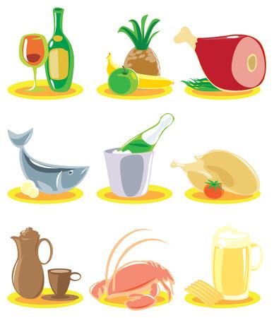 pineapples: Iconos de restaurante con platos de men�. Ilustraci�n vectorial.
