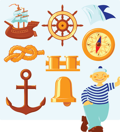 Nautical icons and lucky seaman. Vector illustration.
