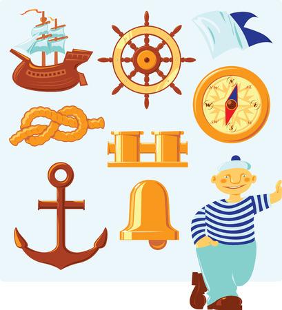roer: Nautische pictogrammen en geluk zeeman. Vector illustratie.