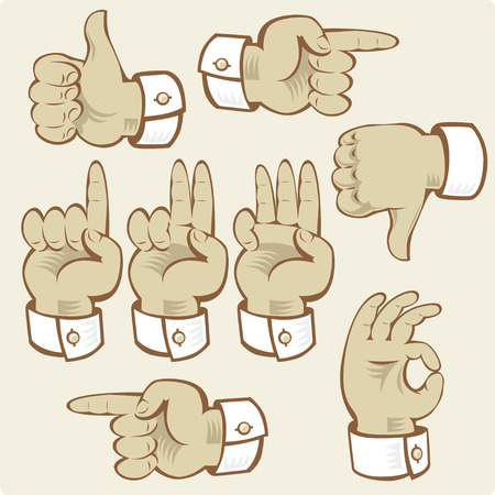 pointing up: Hand gestures of voting, counting and directions. Vector illustration.