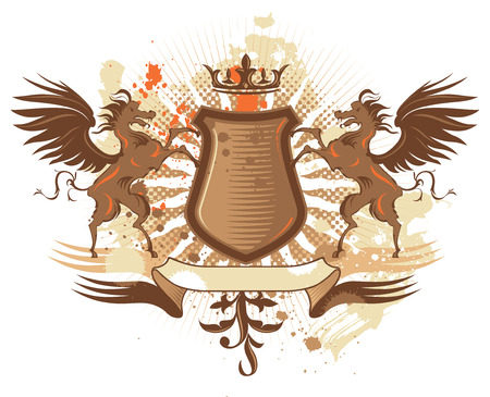 Coat of arms with grunge elements and pegasus. All elements are separated individual objects: halftone, rays, shield, horses, wings, crown, splatters, ribbon. Editable vector Illustration.