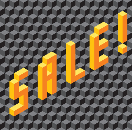 single word: Background with single word Sale made of pseudo-3d cubes. Seamless vector pattern. Illustration