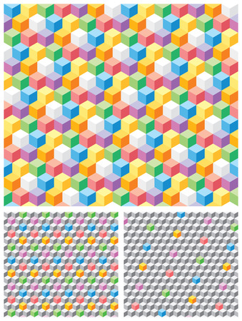 Backgrounds with grey and multicolored pseudo-3d cubes. Seamless vector pattern. Vector